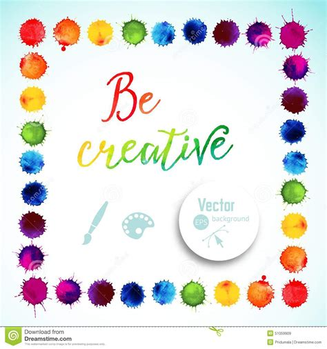 vector square frame made of watercolor rainbow blobs colorful paint drops texture vector