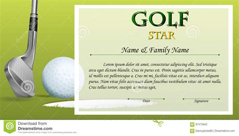 golf certificate templates certificate template for golf with green background