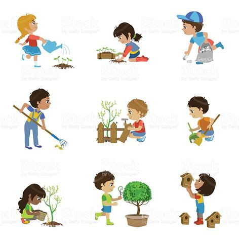 clipart collection gardening illustrations collection stock vector