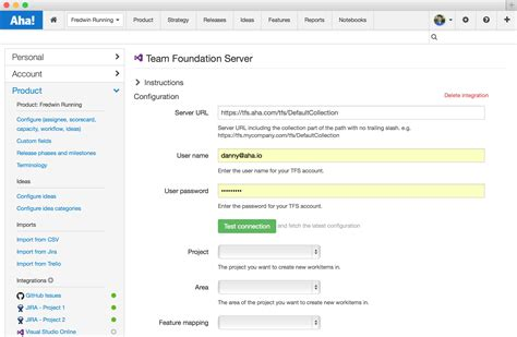 tfs at the configure tfs project server integration tfs