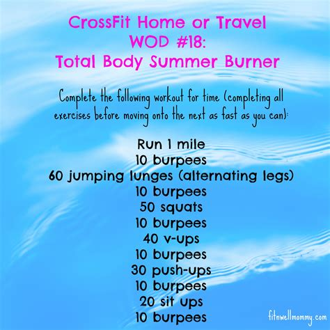 crossfit home wod 18 total summer burner