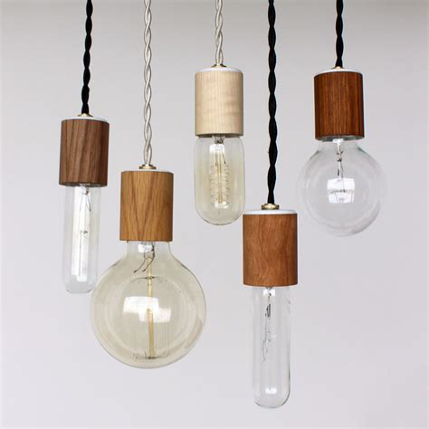 Wood Pendant Light Items Similar To Wood Veneered Pendant Light With Bulb On Etsy