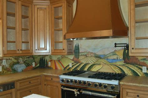 Hand Painted Tiles For Kitchen Backsplash by Kitchen Counter With Hand Painted Tile Backsplash Yelp