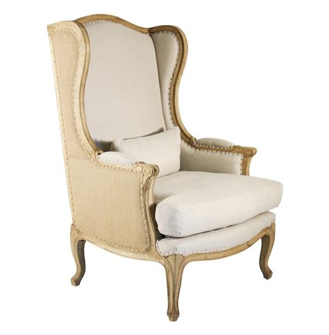 High Backed Chair Leon French Country High Back Linen Wing Chair Kathy Kuo