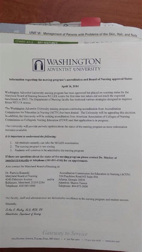Appeal Letter To Nursing Board Appeal 171 Washington Adventist Community