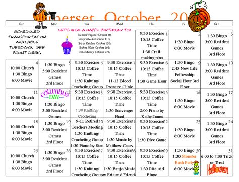 Retirement Calendar Senior Calendar October 2015 Assisted Living Longview Wa