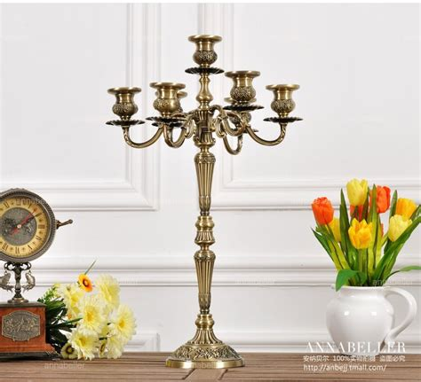 Large Decorative Candle Holders H54 Cm 7 Arm Bronze Floral Metal Candelabra Vintage