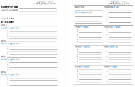 free printable goal planner setting a monthly health fitness goal printable planner