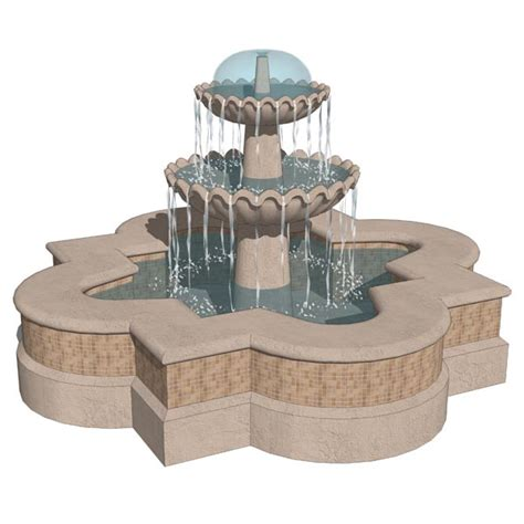 Decorative Trees With Lights Spanish Style Fountains 3d Model Formfonts 3d Models