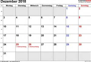 Kalender 2018 Excel Erstellen Kalender Dezember 2018 Als Excel Vorlagen
