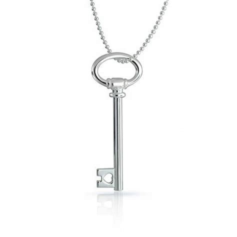 Silver Kets italian sterling silver large oval key pendant necklace 24in