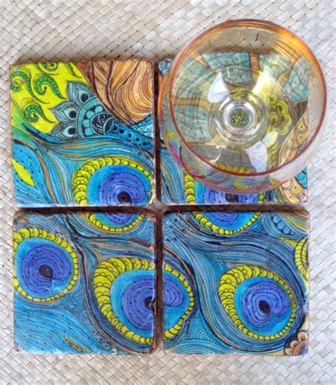 Handmade Tile Coasters - custom tile peacock coasters handmade set of 4 blue green