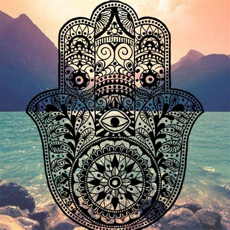 hamsa iphone background mountain ocean evil eye