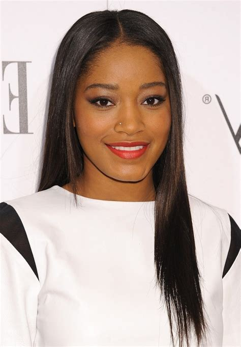 show a recent photo of a middle part human hair styles and middle part wig keke palmer latest center parting sleek straight black