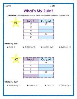 Input Output Pattern Rule Finder | free what s my rule input and output tables 4 pages 1