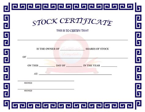 word templates for stock certificates 40 free stock certificate templates word pdf