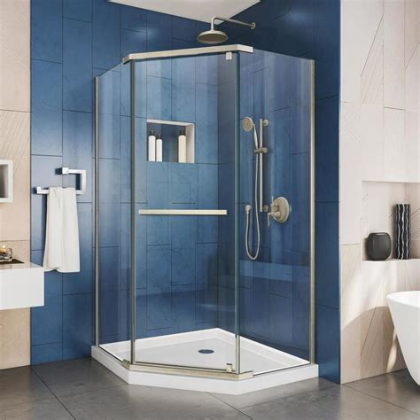 36 Shower Door Shop Dreamline Prism 36 125 In W X 72 In H Frameless Neo Angle Shower Door At Lowes