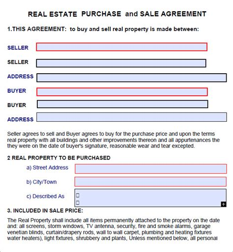 real estate purchase agreement 7 free pdf download