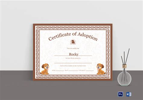 certificate of adoption template pet adoption certificate design template in psd word