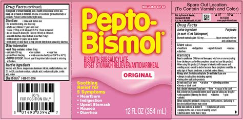 pepto bismol dosage pepto bismol procter gamble manufacturing company bismuth subsalicylate 525mg in