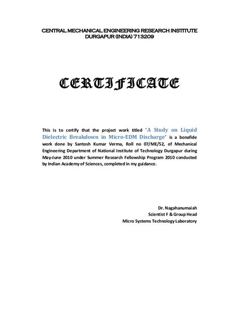 Work Experience Certificate Format Uk A Study On Liquid Dielectric Breakdown In Micro Edm Discharge