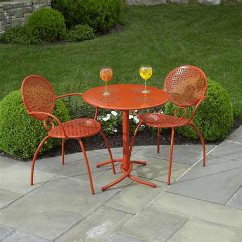 Orange Patio Furniture The Margarita Bistro Set Blood Orange By Alfresco Home