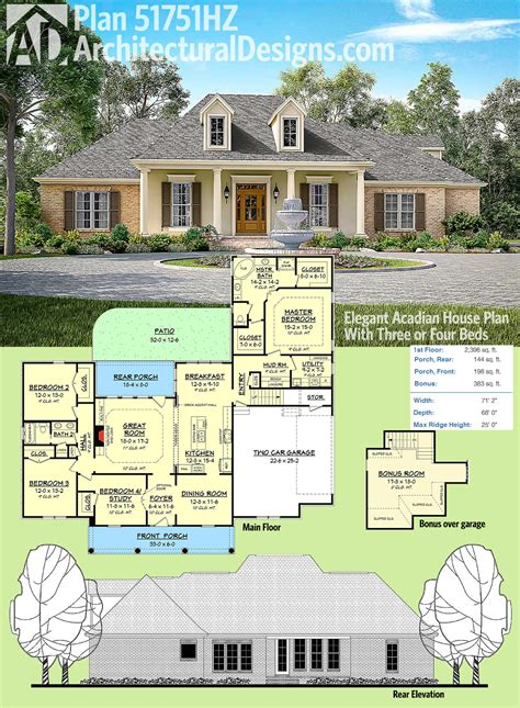 Plan 51751hz Elegant Acadian House Plan With Three Or Cajun House Plans
