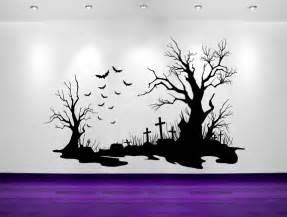Create Own Wall Sticker spooky halloween cemetery scene bats by vinylwalladornments