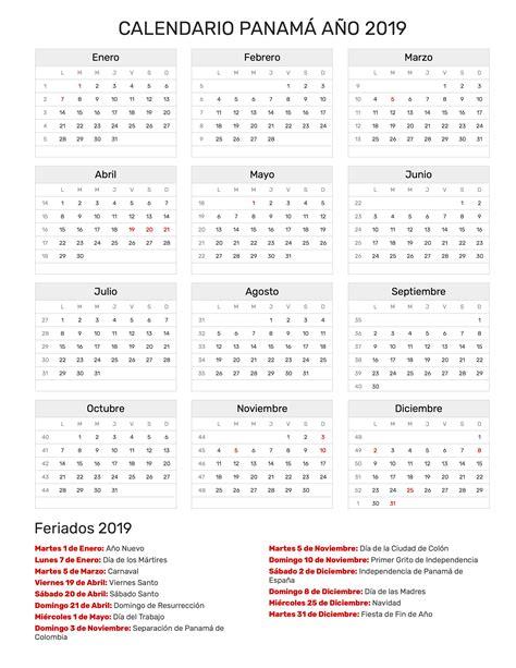 Calendario 2018 En Panama Calendario Panam 225 A 241 O 2019 Feriados