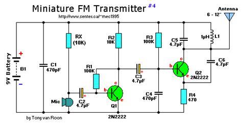 4 transistor fm transmitter miniature fm transmitter 4