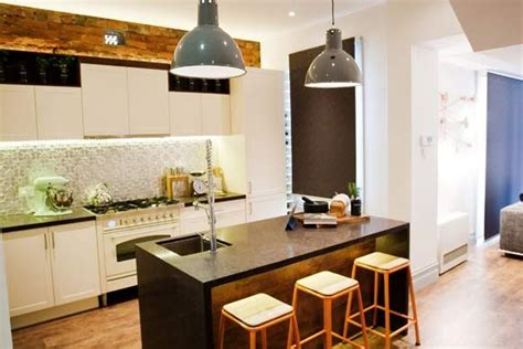the kitchen 2012 pressed metal splashback exposed brick industrial lights