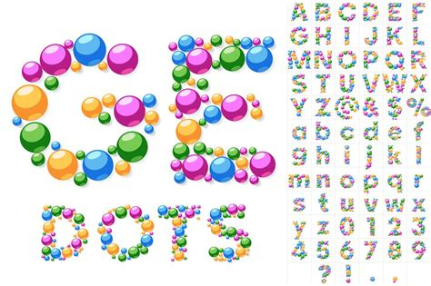 colorful letters alphabet symbols of colorful bubbles graphic objects