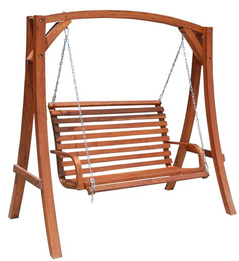 wooden swinging bench solid hardwood outdoor wooden hanging chair swing