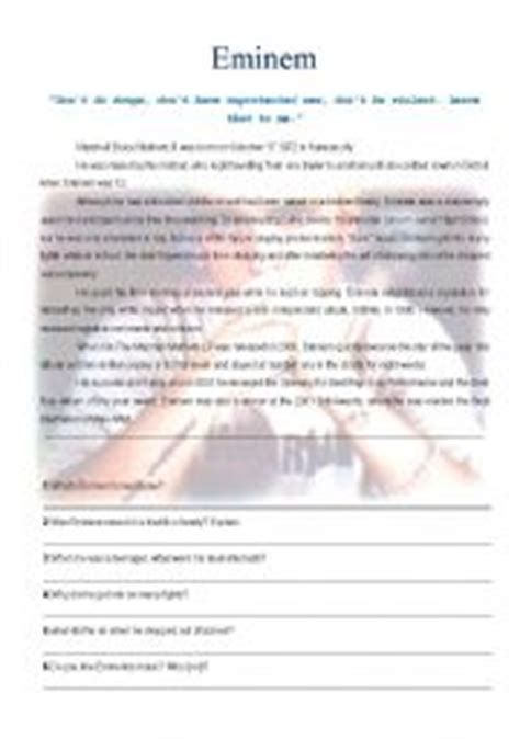 biography eminem english english teaching worksheets eminem