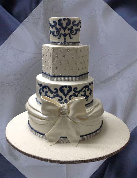 Wedding Cake Navy navy blue and white wedding cake cakecentral