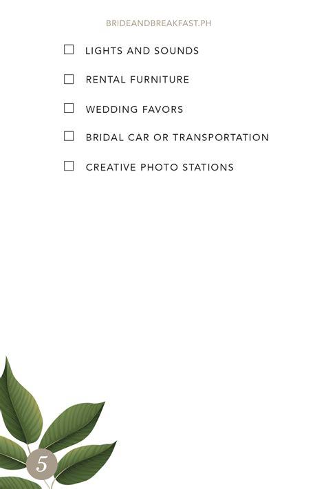 wedding checklist ph wedding suppliers checklist philippines wedding