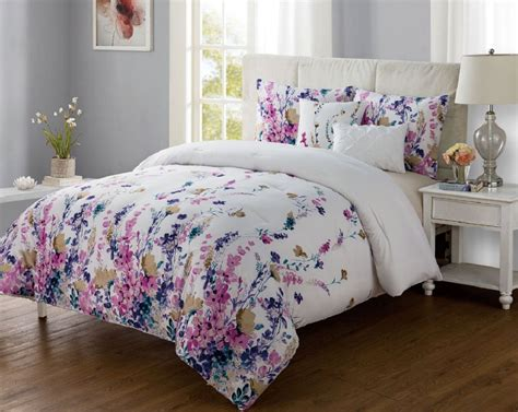 Vibrant Floral Twin Xl Bed Comforter Set Pink Purple Xl Bedding