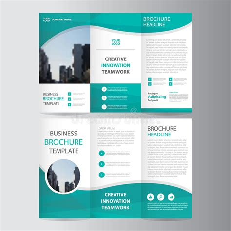 brochure flyer leaflet layout design template stock abstract green polygon trifold leaflet brochure flyer