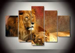 lion wall art home: framed printed animals lion group painting childrens room decor print
