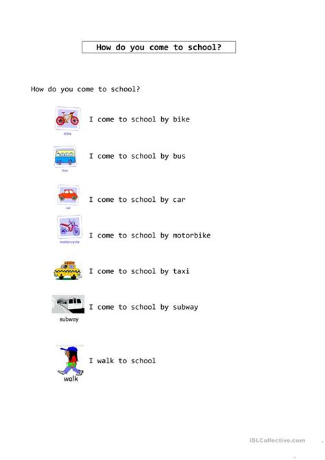 how do you a to come how do i come to school worksheet free esl printable worksheets made by teachers