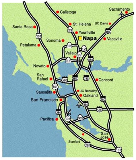 san francisco napa map napa valley area map and san francisco on
