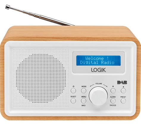 The Light Radio logik lhdr15 portable dab fm clock radio light wood white deals pc world