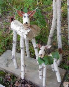 reindeer birch log deer garden holiday decor etsy