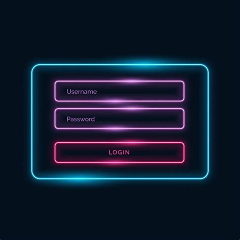 Neon Sign In Template Vector Free Download Neon Sign Template