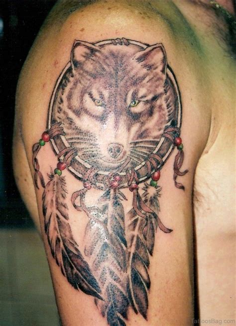 wolf dreamcatcher tattoo 51 wolf tattoos on shoulder
