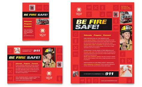 Fire Safety Flyer Ad Template Design Safety Brochure Template Free