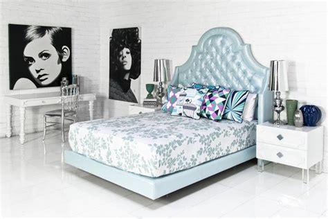 www roomservicestore bel air bed in metallic lagos blue linen