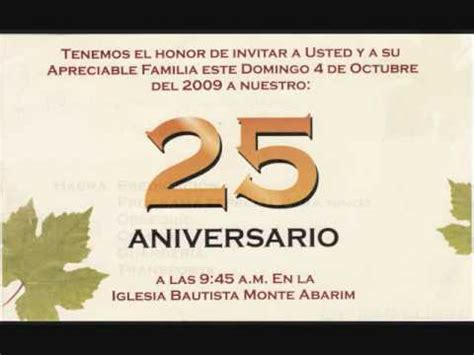 invitacion para aniversario de iglesia monte abarim 25 aniversario youtube
