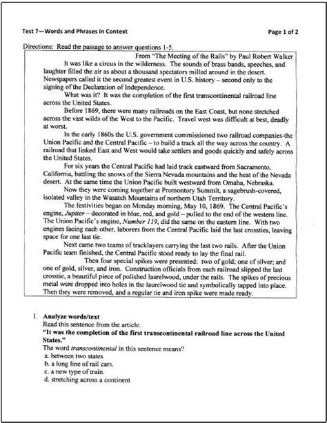 reading comprehension test grade 8 english reading comprehension for class 8 sixth grade