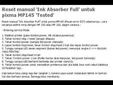 reset canon ip1880 absorber full how to fix ink absorber reset manual quot ink absorber full quot canon pixma mp145 youtube